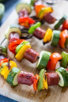 Grilled Sausage KabobsQuick, simple, healthy kabobs made with smoked sausage and fresh, seasonal veg Kabob Recipes, Grilling Recipes, Cooking Recipes, Grilling Ideas, Easy Weeknight Meals, Quick Easy Meals, Easy Dinner Recipes, Sausage Kabobs, Grilled Sausage
