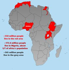 About Half of Africa's Population can be found in the countries colored red.  - from ?