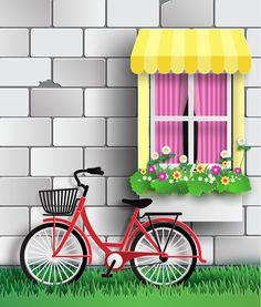 Wall with byicycle vector