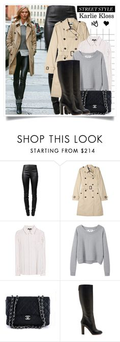 """""""Streetstyle: Karlie Kloss"""" by elske88 ❤ liked on Polyvore featuring Alexander Wang, Burberry, A.P.C., Acne Studios, Chanel, Rochas, StreetStyle and trenchcoat"""
