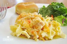 This Easy Chicken Noodle Casserole is made with egg noodles, chicken breast, a creamy, tasty filling and topped with buttered bread crumbs! Chicken Noodle Casserole, Casserole Recipes, Casserole Dishes, Chicken Recipes, Chicken Meals, Steak Recipes, Chicken Salad, Baked Chicken, Crockpot Recipes