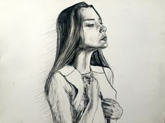 Pencil and Charcoal girl portrait sketch (print) by ZannsOriginalArt on Etsy