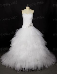 Sweetheart Ruffled Tulle Ball Gown Bead on the waist Wedding Dresses on Etsy, $298.00