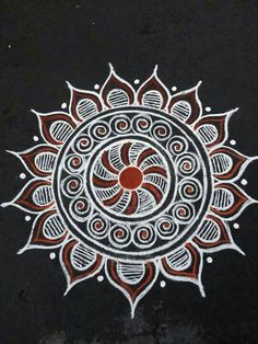 35 Best Mandala Rangoli designs to try - Wedandbeyond Indian Rangoli Designs, Rangoli Designs Latest, Rangoli Designs Flower, Colorful Rangoli Designs, Rangoli Patterns, Rangoli Designs Images, Rangoli Ideas, Latest Rangoli, Free Hand Rangoli Design