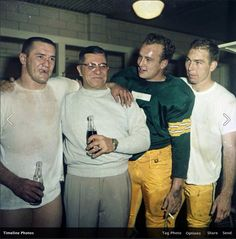 NFL Hall of Famers Jim Taylor, Vince Lombardi, Paul Horning, and Bart Starr of the Green Bay Packers celebrating in the locker room after a playoff win in Packers Baby, Go Packers, Packers Football, Greenbay Packers, Sport Football, Football Season, Football Coaches, Legends Football, Football Baby