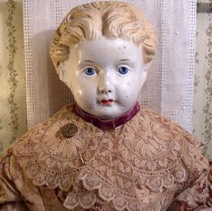 "Antique Paper Mache Shoulder Head Doll Ludwig Greiner 32"" Pat 1872 Blonde Hair | eBay"