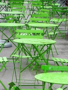 "cafe tables - that spring green color is so cool! Even though I'm a ""blue"" person, that green spells happy to me!"