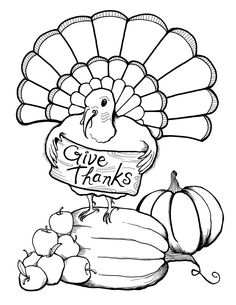 Printable Give Thanks By Turkey Thanksgiving Coloring Page