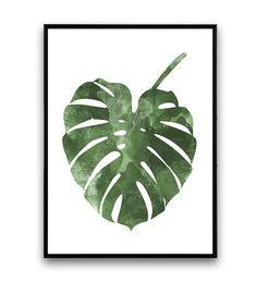 Monstera poster botanische kunst Scandinavische door Wallzilla