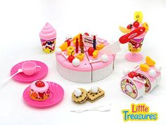 Toy cake set from Little Treasures including toy serving set, toy tea set, toy multi-slice cake, toy knife spoon and fork set as well as full fruit and cake assembly kit ** You can get more details by clicking on the image.