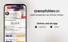 Melde dich jetzt kostenfrei auf empfohlen.de an und erhalte regelmäßig Einladungen zu bezahlten Produkttests, Webseiten-Tests, App-Tests und Online-Umfragen.