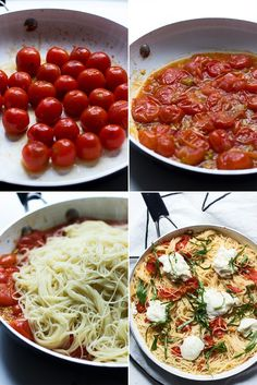 Flavorful Cherry Tomato Angel Hair Pasta Can Be Made in Under 30 Minutes - - Italian Recipes Pot Pasta, Pasta Dishes, Vegetarian Recipes, Cooking Recipes, Healthy Recipes, Mets, C'est Bon, Italian Recipes, Food And Drink