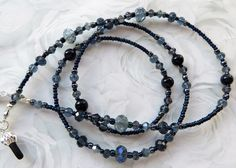 MIDNIGHT BEAUTY- Beaded Eyeglass Lanyard- Blue Sandstone Gemstones, and Hematite beads, and Gorgeous Ink Blue Crystals by CJsInspirations on Etsy