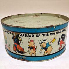 Vintage Tin Litho Disney Three Little Pigs Metal Child's Drum