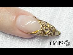 Platinum 3D Nail Art . French Gold Barroque (3) - YouTube