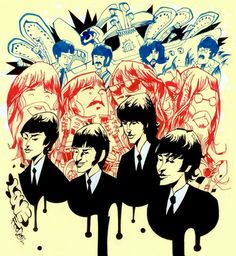 The Beatles illustrated byJim Mahfood:: viafoodoneart.blogspot.ca