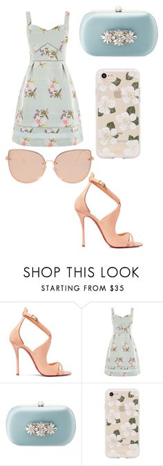 """Untitled #685"" by martialartsqueen ❤ liked on Polyvore featuring Christian Louboutin, Oasis, Badgley Mischka, Sonix and Topshop"