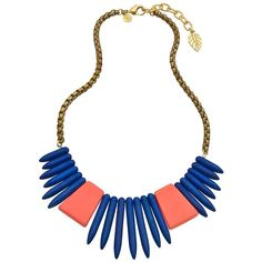 David Aubrey Gold and Turquoise Amelie Spike Bib Necklace ($70) ❤ liked on Polyvore featuring jewelry, necklaces, gold necklace, yellow gold necklace, turquoise bib necklace, chain necklaces and gold chain necklace