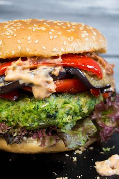 Green Monster Veggie Burger. Ingredients: peas, kale, broccoli, celery, onion, garlic, oats, breadcrumbs, walnuts,italian spice, soy sauce, mustard, s and p. Toppings: eggplant, red bell pepper, sun-dried tomatoes