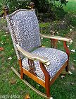For Sale - LATE VICTORIAN ERA LION HEAD ROCKING CHAIR-LEPOARD PRINT/GILT ACCENTS