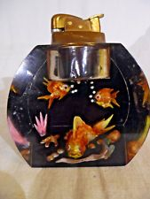 Beautiful Vintage Table Lighter Aquarium Design With Fish Lucite Evens