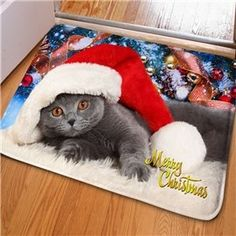 Fancy Rectangle Cute Cat with a Christmas Hat Print Home Decorative Doormat