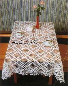Crochet: 3 Tablecloth For Rectangular Table - Diy Crafts Picot Crochet, Thread Crochet, Crochet Motif, Crochet Doilies, Crochet Patterns, Crochet Tablecloth Pattern, Crochet Curtains, Crochet Kitchen, Crochet Home