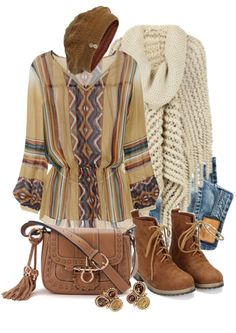 """""""A Little Winter Boho"""" by leegal57 ❤ liked on Polyvore"""