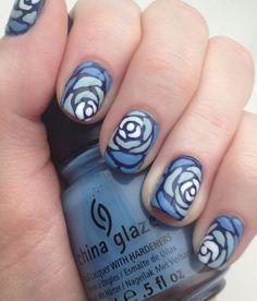 Blue Rose Nails