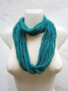 Crochet Scarf infinity    Necklace Colorful  Long  by scarfnurlu