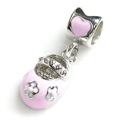 Queenberry Sterling Silver Lovely Little Baby Shoe Pink Rose Bead F European Chamilia Biagi Troll Pandora Charm Bracelets