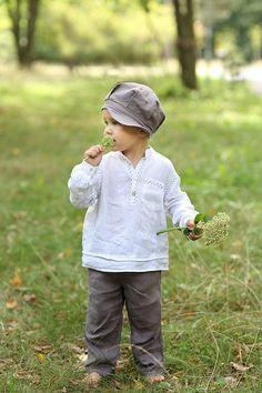 25€, Jungs Leinenhemd, Taufe jungen-Anzug, Kinder Babybekleidung, Junge Party Shirt, natürlichen Leinen Baby jungen Anzug, weiß