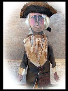 Primitive Folk Art George Washington doll  sold, , but you can view my available dolls  at https://www.facebook.com/HootnhollarprimsByJoannPalmer