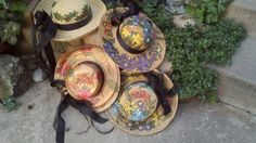 Four seasons hat collage  Hand drawn and painted by LooksFromBooks, $125.00