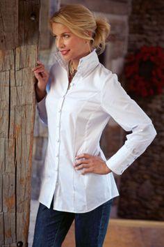 Huntleigh Shirt - Black Long Sleeve Shirt, White Blouses For Women | Soft Surroundings