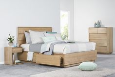 Malta - Featuring clean, classic lines and available with matching bedsides cleverly designed to accommodate the full length under-bed drawers.