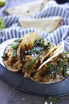 Slow-Cooker Poblano and Honey Lime Chicken Tacos - Cooking for Keeps