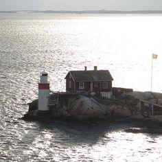 Lighthouse on Gäfveskär Island in the Göteborg Archipelago, the Swedish coast near Göteborg.