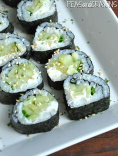 homemade sushi rolls with cucumber cream cheese + chives