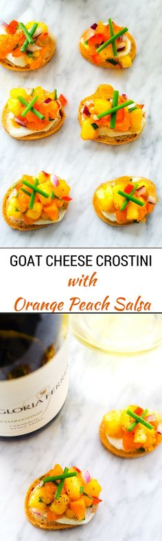 This Goat Cheese Crostini with Orange Peach Salsa is the perfect appetizer to enjoy with a glass of white wine.  It is easy to make and so delicious! via @wendypolisi