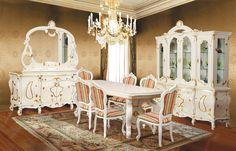 Mobila / Mobilier Sufragerie clasic masiv Nastasia alb crem Dinning Set, All White, House, Inspiration, Biblical Inspiration, Home, Homes, Inspirational, Houses