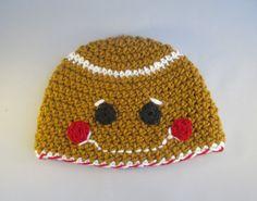 Baby Gingerbread Boy Handmade Crocheted Christmas Hat by LightsCameraCrochet on Etsy
