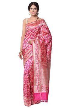 Hot Pink kadhwa jangla Saree with shaikargah motifs