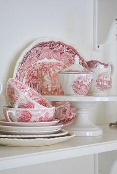 The Grower\u0027s Daughter: A Collection of Red Transferware Vintage China, Tea, White 216 Best and white transfer china images | Toile, Red,