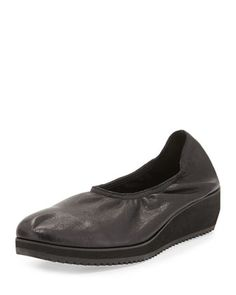 Mellow Leather Slip-On Flat, Black by Eileen Fisher at Neiman Marcus.