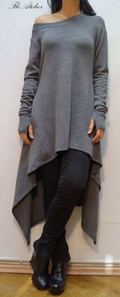 Grey Asymmetrical Sweater/Cozy Sweater/ Sweater Dress/Knit Dress/Women Ribbed Sweater/Maxi Blouse/Over sized knit top/ Winter blouse/F1356