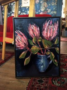 Proteas in Blue Pot oil on canvas framed beautifully in stained Tasmania Oak by will be part of a group exhibition at Q. in Melbourne in collaboration with next week cant wait! DM me for price list. Oil Painting Flowers, Abstract Flowers, Painting Prints, Art Prints, Protea Art, Cow Art, Diy Canvas Art, Art Pictures, Flower Art