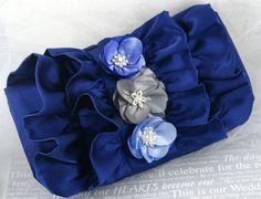 Bridal Clutch- Bridesmaids Clutch Blue, Silver with Satin and Jewels