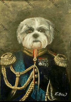 A5 ACRYLIC Trafford the dog in uniform- by Emily Willmott