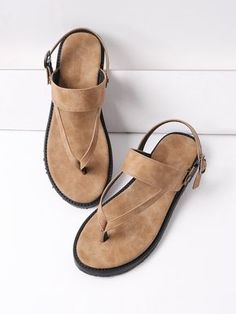 SheIn offers Thong Flat Sandals & more to fit your fashionable needs. Cute Sandals, Flat Sandals, Shoes Sandals, Vegan Sandals, Vegan Shoes, Brown Flat Shoes, Brown Sandals, Leather Slippers, Leather Sandals